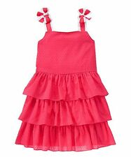 Gymboree PRETTY POPPY Girls Coral Clip Dot Tiered Ruffle Bow Sun Dress 4 4T NWT
