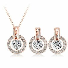 18K Rose Gold Plated Paved CZ Austrian Crystal  Earring Pendant Necklace Set