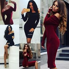 Women Fashion Sexy Off Shoulder Long Sleeve Solid Bodycon Pencil Sweater Dress