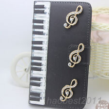 Bling Luxury black piano notes Diamonds Crystal PU Leather flip Cover Case #G