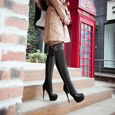 Womens Stiletto High Heels Shoes Over Knee Buckle Platform Boots US Size New YT