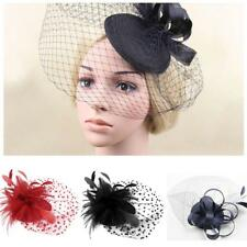 HOT party fascinator hair accessory clip hat flower lady veil wedding Bride