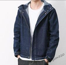 Fashion Mens  Washed Denim Jeans Jacket Coat Hoodied Pocket Zip Casual Jackets