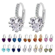 Stud Earings Rhinestone Crystal Heart Shape Drop Dangle Earrings Women Jewellry