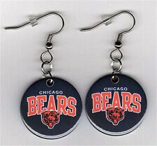 """Chicago Bears 1"""" Button Dangle Earrings Sports NFL Football - FREE Matching Pin"""