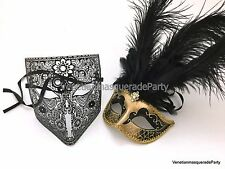 Couple Masquerade ball mask Bauta feather fancy Dress up Costume Halloween Party