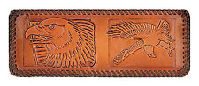 AMISH TOP GRAIN LEATHER BI FOLD LACED WALLETS EMBOSSED EAGLE DESIGNS GREAT GIFT!