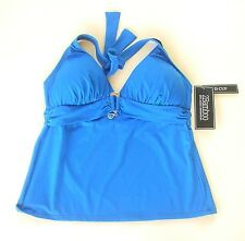 2Bamboo Blue Halter Tankini Top Large 36D 36DD NEW/TAGS  Removable Pads