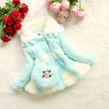 Girls faux fur children coat floral collar outwear Warm clothing with a cute bag