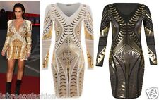 Womens Ladies Celebrity Inspired Gold Foil Print Bodycon Short Party Mini Dress