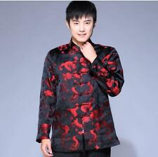 Black Chinese Men's silk Dragon party jacket coat Cheongsam Sz: S M L XL XXL