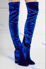 Womens Over Knee Boots Trim Velvet Thigh Boots Pointy Toe Chunky High Heel Shoes