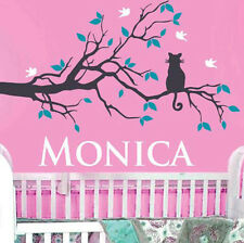 Personalized Wall Decal Cat on a Tree Branch with Custom Name Design for Nursery