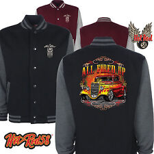 Hot rod 58 American Fired Vintage Rockabilly Retro Classic Car Varsity Jacket 03