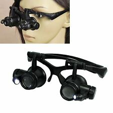 10X 15X 20X 25X LED Eye Jeweler Watch Repair Magnifying Glasses Black Loupe FY