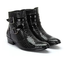 Hot mens pointy cowboy zipper  patent leather cowboy zipper  buckle ankle boots