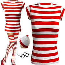 FANCY DRESS LADIES GIRS RED AND WHITE STRIPES  T-SHIRT HAT GLASSES SOCCKS OUTFIT