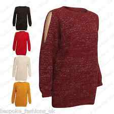 Ladies Women's Shiney Lurex Knitted Long Sleeve Cut Out Detail Xmas Jumper Top