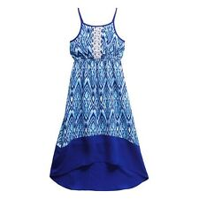NWT Girls EMILY WEST Blue Challis Lace Panel High Low Casual Sun Dress Size 8