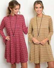 Very J Bell Sleeve Mock Turtleneck Sweater Dress Knit Long Sleeve Striped D31761