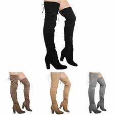 NEW WOMENS BLOCK HIGH HEEL ZIP OVER THE KNEE LADIES THIGH STRETCH BOOTS SHOES