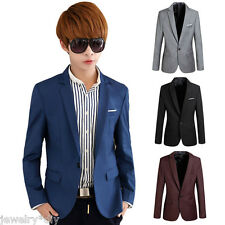 Mens Slim Fit Casual Suit Formal Business One Button Suit Blazers Coat Jacket
