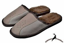 Men Buffalo Leather House Slippers Handmade Sheep Wool S Soft Warm Cosy Sandal