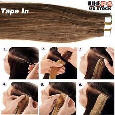 "16""-24"" 20-40Pcs 30-100g Tape Glue In Seamless Skin Weft Remy Human Hair US I340"