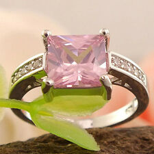 1Pc Silver Plated Pink Square Cubic Zirconia CZ Shiny Finger Ring Affordable