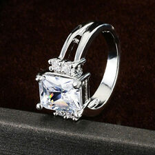 Women's Gold Plated Square Rhinestone Engagement Wedding Jewelry Ring Affordable