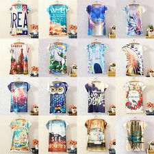 Vintage Summer Women Short Sleeve Graphic Printed T Shirt Tee Blouse Tops Tees