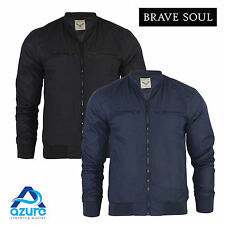 Mens Brave Soul 'Kumar' Jacket Shower Proof Rain Mac Bomber Coat Lightweight