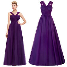 New Long Formal Evening Ball Gown Party Prom Purple Bridesmaid Dress Size 2-16