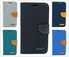 Denim Cloth Card Holder Magnetic PU Leather Case Wallet Cover For iPhone/Samsung