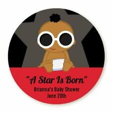 A Star Is Born African American Boy - Round Personalized Baby Shower Sticker