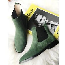 Fashion Womens Suede Leather Black Army Green Ankle Boots Flats Oxfords New Size
