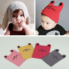 Toddler Girls Boys Crochet Rabbit/Kitten Earflap Hat Newborn Baby Kids Warm Cap
