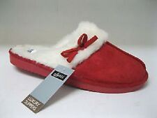 JYOTI Ladies Red Full Fur Lined Mule Slippers with Bow. Perfect for CHRISTMAS