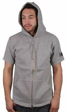 Crooks & Castles Men's Short Sleeve Knit Speckle Grey Zip Up Hoodie NWT