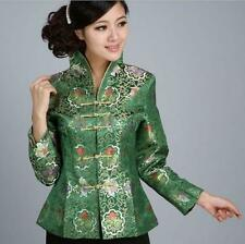 Charming Chinese Women's silk embroidery jacket /coat green Sz:8 10 12 14 16