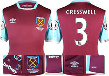 16 / 17 - UMBRO WEST HAM UNITED HOME SHIRT SS + PATCHES  CRESSWELL 3 = KIDS SIZE