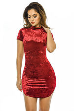 AX Paris Womens Mini Dress Red Bodycon Velvet Party Ladies Casual Cocktail