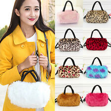 Women Fur Shoulder Bag Leopard Handbag Satchel Crossbody Tote Hobo Bags Purse