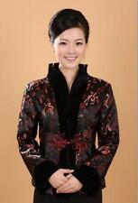 Charming Chinese Women's silk embroidery jacket /coat Black Red Sz:8 10 12 14 16