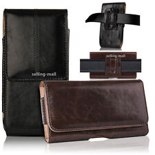 Genuine Leather Carry Pouch Case Cover Belt Holster Loop Sleeve For Cell Phone