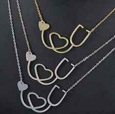 Chin New Style Medical Doctor Nurse ER Stethoscope Heart Pendant Chain Necklace