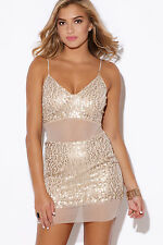 Gold Sequined Nude Beige Mesh Rhinestone Embellished Party Sexy Mini Dress