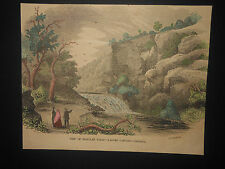 Scarce Tallulah Falls Ladore Cascade Rabun County Georgia 1854 Hand Colored
