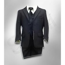 Boys Elegant Striped Suit in Black, Page Boy Formal Wedding Prom Black Boys Suit