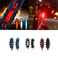 Rear Safety 5 LED Bicycle Cycling Tail USB Rechargeable Warning Light Bike JG